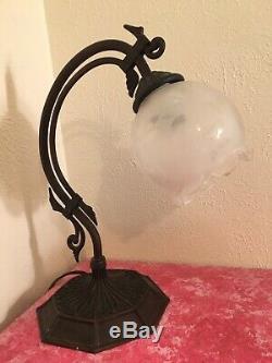 Heavy Art Deco Nouveau Vintage Bridge Arm Table Lamp withEtched Glass Shade RARE