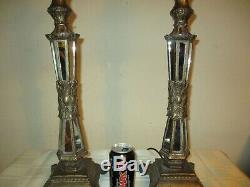 Huge Pair Of Vintage Art Deco Style French Empire Table Lamps + Vintage Shades