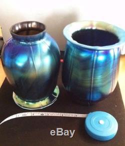 Iridescent Aurene Blue Art Glass Lamp Shade Vintage 1904