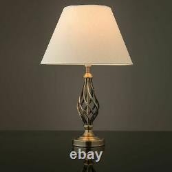 Kingswood Barley Twist Traditional Table Lamp & Shade Bedside Antique Brass New