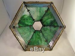 LAMP SHADE Slag Glass Green Multi Brass Filigree 6 Panels Heavy Vintage