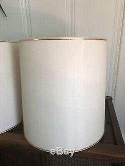 LARGE Matching Pair Of Vintage Mid Century Modern Stiffel Drum Lamp Shades EUC