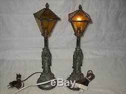 Lot Of 2 Vintage Leviton Cast Iron Amp Green Glass Lamp Shade Asian Table Lamps