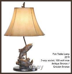 Lake Trout Fish Table Lamp Fishing Bronze Finish Rustic Cabin Lodge Decor 25H