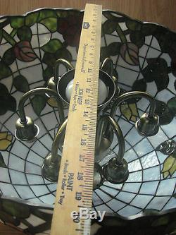 Large Beautiful Vintage TIffany Style Stained Glass Shade, withChandelier Fixture