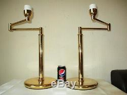 Large Pair Of Vintage Solid Brass Swing Arm Table Lamps With Vintage Shades