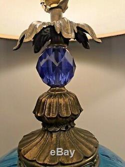 Large Vintage Blue Glass Double Light Lamps Velvet Shades L & L WMC Accurate