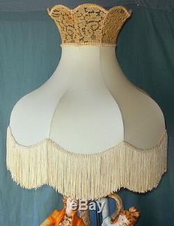 Large Vintage Capodimonte Porcelain Music Couple Lamp & Beautiful Fringed Shade