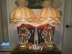 Large Vintage Capodimonte Table Lamp Amp Shade Fisherman