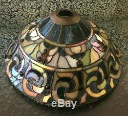 Large Vintage Dale Tiffany Stained Glass Lamp Shade 7 tall 16 across