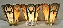 Large Vintage Mission Arts&crafts Brass And Slag Glass Lamp Shades Set Of 3
