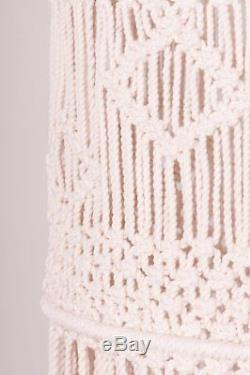 Large White Macrame Round Drum Lampshade Light Shade Boho Tassels Retro Vintage