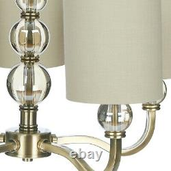 Laura Ashley Selby 5 Arm Chandelier with Mocha Drum Shades