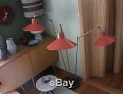 MCM VTG Gerald Thurston Lightolier triple arm floor lamp shades 50's