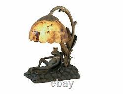 Maitland Smith 8190-17 Verdigris, Brass Frog Prince Lamp Penshell Shade NEW