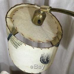 Majestic lamp fiberglass shade mid century atomic lighting brass lacquer vintage