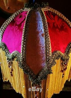 Mandalay A, Victorian, Downton Lampshade. Rich Red Silk Damask & Gold Velvet 16