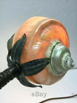 Mermaid Desk Lamp With Sea Snail Shell Shade Aged Bronze With Touch Of Verde Vintage