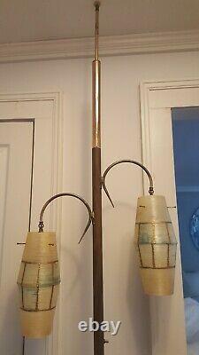 Mid Century Modern Retro Vtg 2 Shade/Light Floor Tension Pole Lamp
