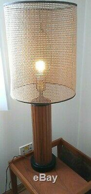 Mid Century Modern Table Lamp Danish Shades Teak Wood Slats Hans Wegner Vintage