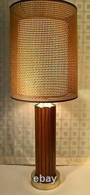 Mid Century Modern Vintage Gruvwood Table Lamp Basket Weave Double Shade c1964