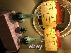 Mid-Century ModernTeardrop Lamps with Two-Tiered Fiberglass Shades