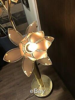 Mid Century Vtg Tall Lotus Flower Lamp White Amp Brass Metal