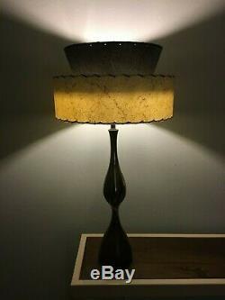 Mid Century Vintage Style 2 Tier Fiberglass Lamp Shade Modern Atomic BLK Ivory