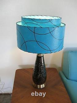 Mid Century Vintage Style 2 Tier Fiberglass Lamp Shade Modern Atomic Turquoise