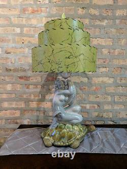 Mid Century Vintage Style 3 Tier Fiberglass Lamp Shade Modern Pagoda Olive