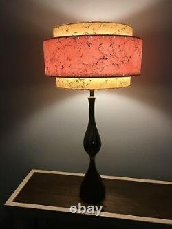 Mid Century Vintage Style 3 Tier Fiberglass Lamp Shade Modern Pink Ivory