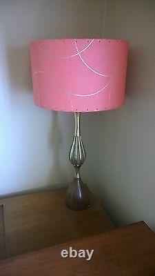 Mid Century Vintage Style Fiberglass Lamp Shade Modern Atomic Salmon Pink