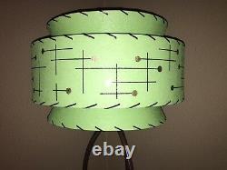 Mid Century Vintage Style Tapered 3 Tier Fiberglass Lamp Shade Modern Atomic GRN