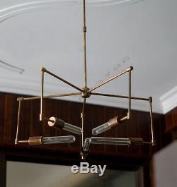 Mid century 5 arms modern brass chandelier brass patina edison light bulb