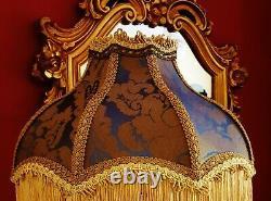 Mitford. Victorian Vintage Downton Lampshade. Midnight Blue Silk Damask 14
