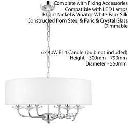 Multi Light Ceiling Pendant 6 Bulb NICKEL & WHITE Chandelier Large Shade Lamp