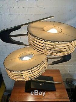 Near Mint Vtg Mid Century Modern Majestic Boomerang Z Lamp Fiberglass Shades mcm