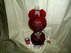 Nice Vintage Fenton Cranberry Red Electric Table Lamp