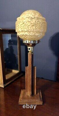ORIGINAL 1930s ART DECO TABLE DESK LAMP OAK STEM ACORN GLOBE GLASS SHADE
