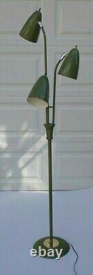 Original VTG Mid Century Modern Floor Lamp Triple Atomic Cone Bullet Shades