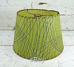 Original Vintage Mid-Century Olive Green Fiberglass Cone Shape Retro Lamp Shade