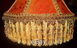 Osborne, Victorian Traditional Lampshade Terracotta & Gold Silk Damask 10