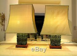 PAIR LARGE BRONZE LAMPS CHINESE WITH ORIGINAL GREEN SHADES VINTAGE ANTIQUE