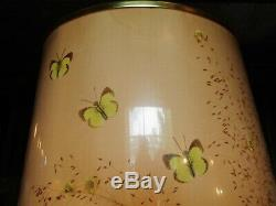 PAIR VTG Mid Century Van Briggle Drip Glaze Pottery Lamps + Butterfly Shades