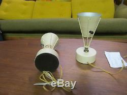 PAIR Vtg 1950's Boudoir Lamps with Fiberglass Shades Mid Century Modern