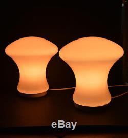 PAIR of VTG CZECH MODERNISM 1960's table lamps, Pink Glass Shade Great Design