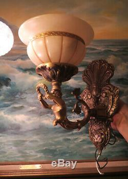 PR Sconces Vintage Deco Mermaid brass bronze lamp lady Alabaster shades Spain
