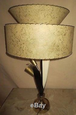 Pr Vintage Mid Century Era Majestic Fiberglass Shades