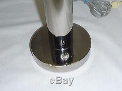 Pair (2) Vtg 1968 Mid Century Nessen Chrome Table Lamps with Mushroom Shade #6026