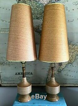 Pair 2 Vtg Mid Century Danish Modern Ceramic Table Lamps withShades